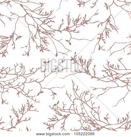 Brown Tree Branches Seamless Vector Pattern