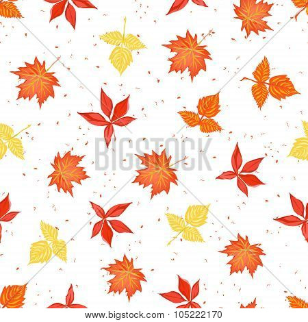 Bright Autumn Leaves On Speckled Backdrop Seamless Vector Print