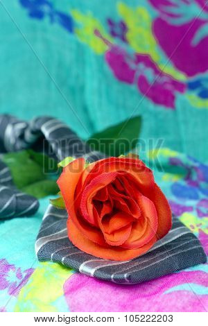 Grey Black Tie With Red Roses On A Green Background