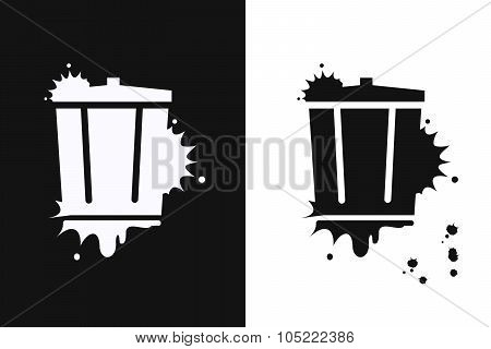Recycle Garbage Can On White And Black Background.