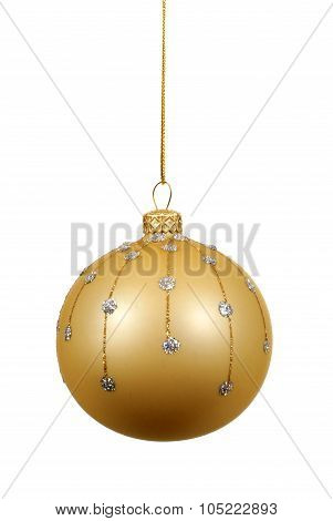 Gold Christmas Ball Or Bauble With Glass Decoration Isolated Against A White Background
