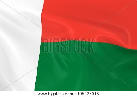 Waving Flag Of Madagascar - 3D Render Of The Madagascan Flag With Silky Texture