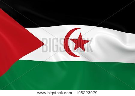 Waving Flag Of The Western Sahara - 3D Render Of The Sahrawi Arab Democratic Republic Flag With Silk