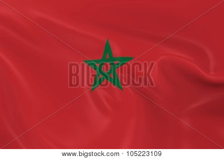 Waving Flag Of Morocco - 3D Render Of The Moroccan Flag With Silky Texture