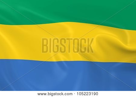 Waving Flag Of Gabon - 3D Render Of The Gabonese Flag With Silky Texture