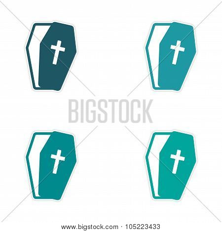 Set stickers bright coffins on white background