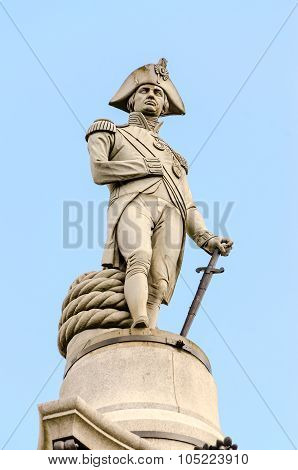 Nelson Statue At Trafalgar Square, London
