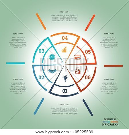 Infographic Pie Chart Template Colourful Circle Six Positions