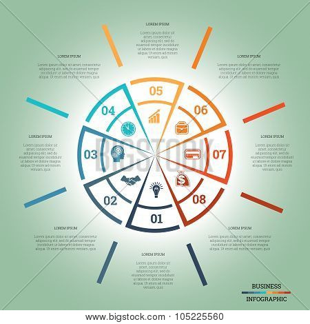 Infographic Pie Chart Template Colourful Circle Eight Positions
