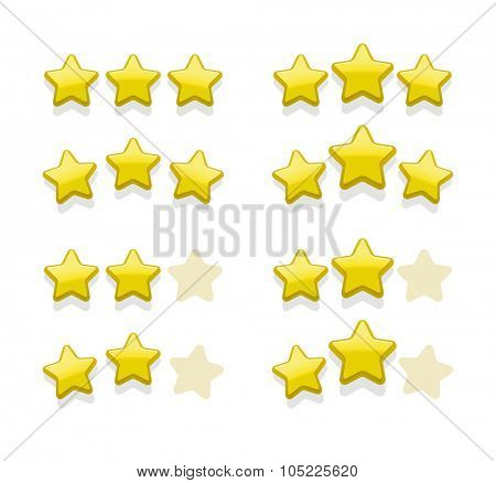 Vector sets of simple yellow stars for rank, favorites, award