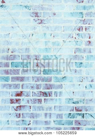 Whitewashed brick wall texture with blue and green hues