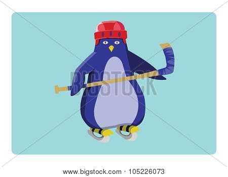Hockey Penguin Emblem Illustration