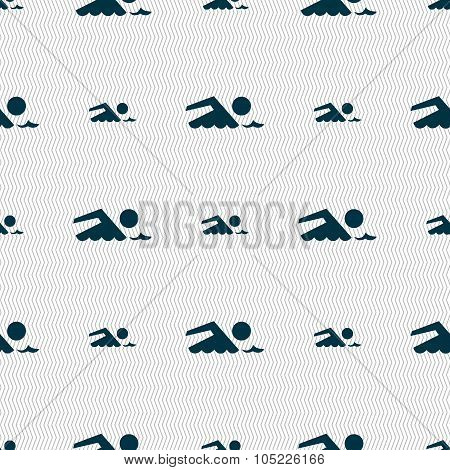 Swimming Sign Icon. Pool Swim Symbol. Sea Wave. Seamless Abstract Background With Geometric Shapes.