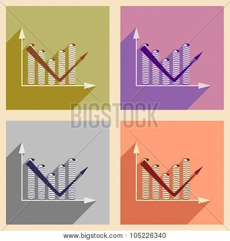 Flat with shadow icon concept Economic graph and coins