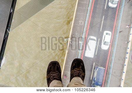 View Through The Tower Bridge Glass Floor, London