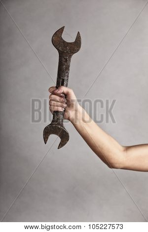 Wrench Spanner Tool In Hand Of Female Worker