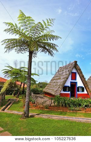 MADEIRA, PORTUGAL - OCTOBER 4, 2011: Traditional rural landscape in village - Museum of the Portuguese island of Madeira. The little white house with triangular thatched roof and red door.