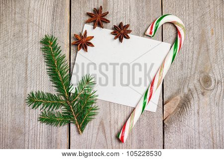 Christmas Decoration With Fir Tree, Sugar Cane And Anise Stars