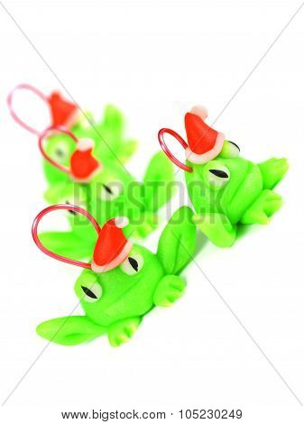 Frogs With Santa Hat