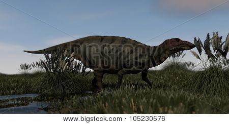 shuangmiaosaurus in swamp waters
