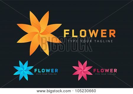 Abstract flower vector icon logo
