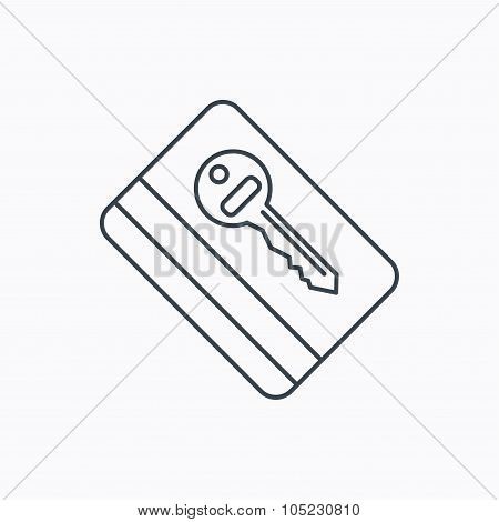 Electronic key icon. Hotel room card sign.