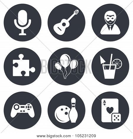 Game, bowling and puzzle icons. Entertainment.