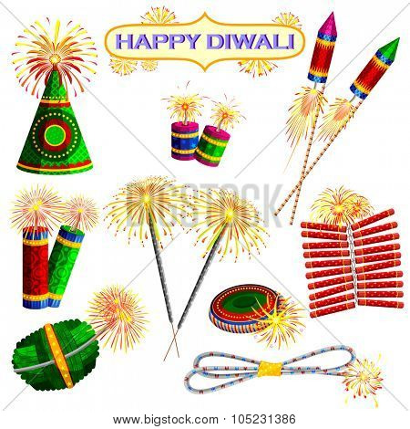 illustration of set of colorful firecracker for Diwali holiday fun
