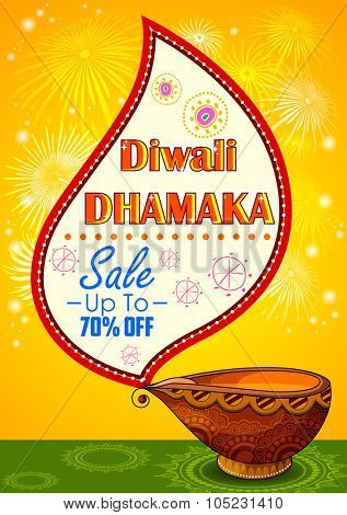 illustration of Happy Diwali promotion background with diya