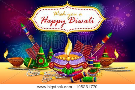 illustration of Happy Diwali background with diya and firecracker