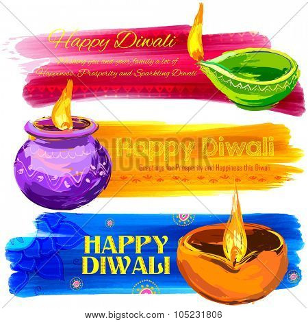 illustration of Happy Diwali banner colorful watercolor diya
