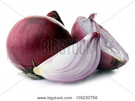 Red sliced onions isolated on white