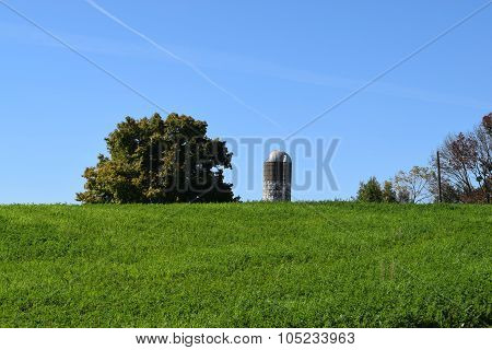 old silo peeking over a hill