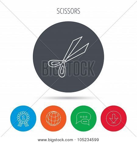 Gardening scissors icon. Secateurs tool sign.
