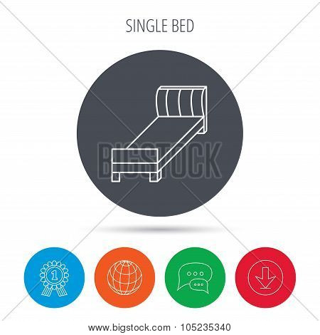 Single bed icon. Bedroom furniture sign.