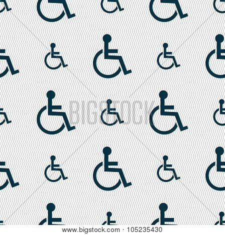 Disabled Sign Icon. Human On Wheelchair Symbol. Handicapped Invalid Sign. Seamless Abstract