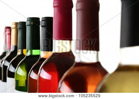 wine bottlenecks isolated on white background
