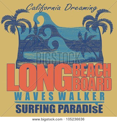 Long Beach surfing t-shirt  graphic design