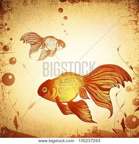 Gold Fish Vintage Background