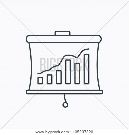 Statistic icon. Presentation board sign.