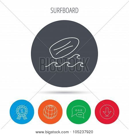 Surfboard icon. Surfing waves sign.
