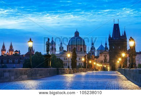 Morning sunrise Charles bridge Prague Czech republic. Illustration