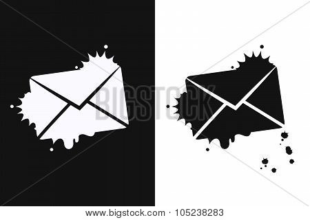 Send Email Symbol On White And Black Background.