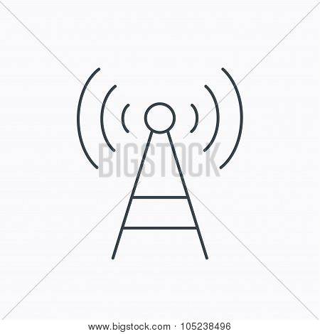 Telecommunication tower icon. Signal sign.