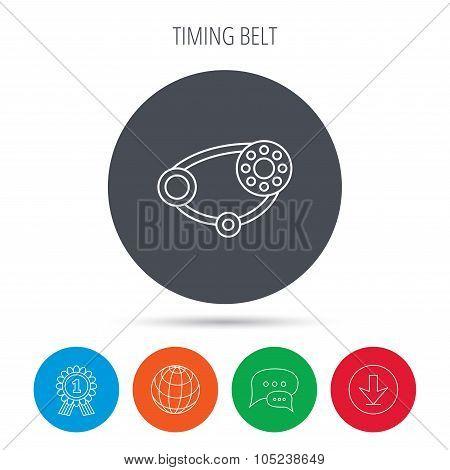 Timing belt icon. Generator strap sign.