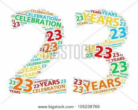 Colorful word cloud for celebrating a 23 year birthday or anniversary