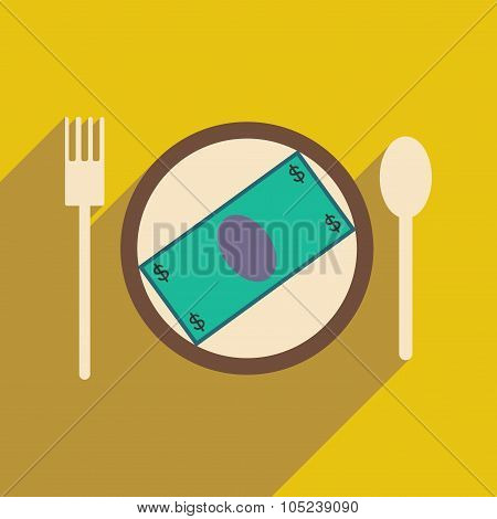 Modern flat icon with shadow bill on the plate