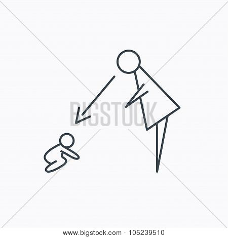 Under nanny supervision icon. Babysitting sign.