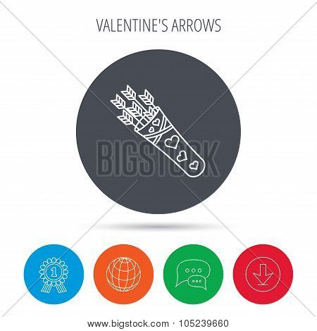 Cupid arrows icon. Love weapon sign.