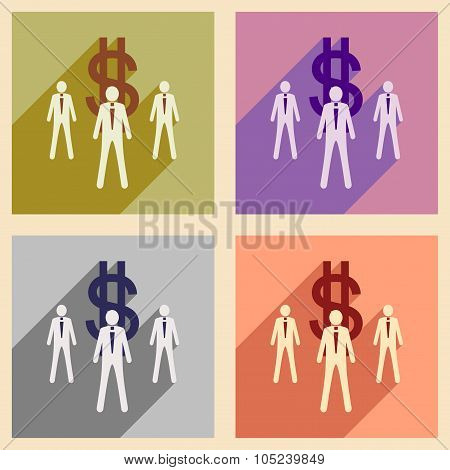 Modern flat icons vector collection with shadow Stick Figure money